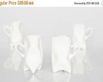SALE Porcelain cups set of four white , ceramic cups handbuilt for coffee or tea by Endesign