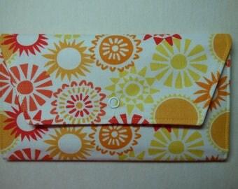 Summer Sun Fabric Wallet (orange, yellow)