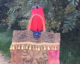 Velvet and Tapestry Patchwork Tote Bag with Tassels and Beaded Fringe