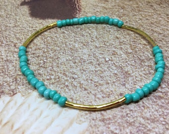 Seed Bead Stretch Anklet-Beach Jewelry-you choose Anklet or Bracelet-Turquoise and Gold