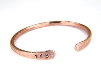 143 Antiqued Copper Bracelet, Hand Stamped Copper Bracelet, 6-Gauge, Mens or Womens, Made To Order