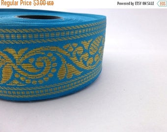 ilovesales Blue and gold floral embroidered cotton trim - 1 yard