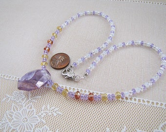 Natural Ametrine rock pendant necklace, crystal bead necklace by Swan Treasures