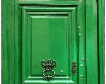 "Paris Photography,Green"" door Still life Color photography France 8x10 ,French Country Home decor Monochromatic wall decor"