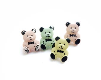 4 Plastic Teddy Bear Buttons, 15mm