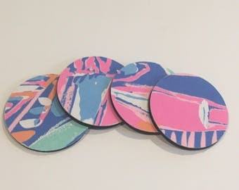 Lilly Pulitzer fabric coasters made with Bay Blue Out to Sea