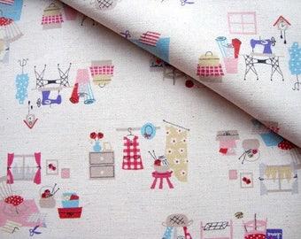 Japanese Fabric Kokka, Vintage Sewing Fabric, Kawaii Fabric, Printed Canvas, Cotton Linen, Kids Fabric, Bag Fabric/I love Sewing/a yard