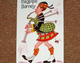 Vintage Old Maid Game Replacement Card - Whitman - Bagpipe Barney