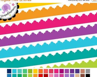 40% OFF SALE Triple Scalloped Digital Ribbons - Digital Clipart - Instant Download - Commercial Use