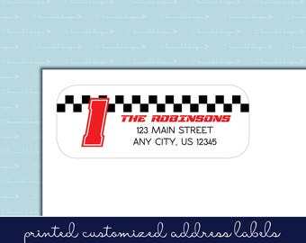 Race Car Return Address Labels