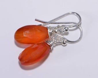 Carnelian Drop Earrings Dangle Earrings Gemstone Earrings