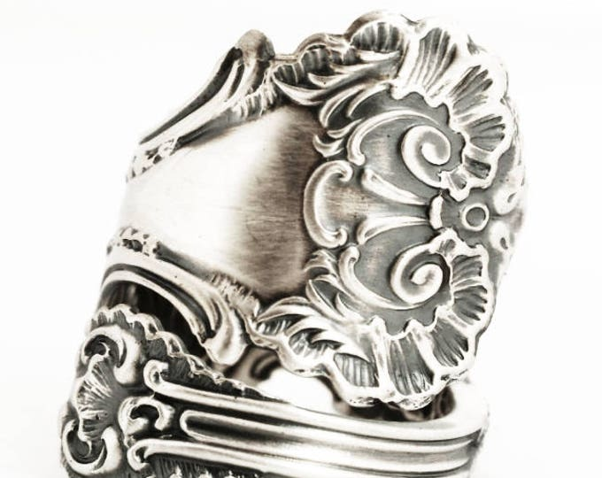 "Victorian Spoon Ring, Lace Ring, Sterling Silver Spoon Ring, Frilly Ring Gift, Antique Whiting ""Pompadour"" 1895, Adjustable Ring Size (6965)"