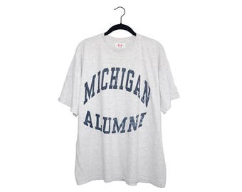 Vintage University of Michigan Wolverines Alumni Light Heather Grey Crewneck T-Shirt, Made in USA - L