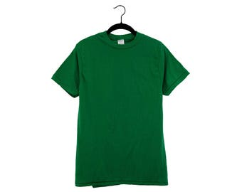 Vintage 70's CHED Kelly Green 50/50 Poly-Cotton Crewneck Blank T-Shirt, Made in USA - Large