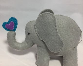 Felt Elephant with Purple and Teal Heart 6 inches tall