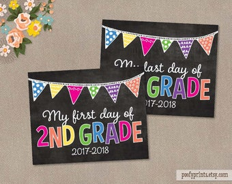 First & Last Day of 2nd Grade Chalkboard Printable Sign - Printable First Day of Elementary School Sign - INSTANT DOWNLOAD - 505