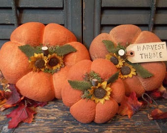 """Trio of Prim Handmade and Painted """"Flattie"""" Pumpkins - Fall and/or Thanksgiving"""