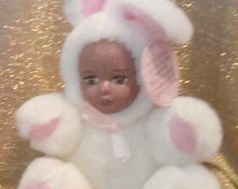 """Mitzi, a 5"""" white and pink plush teddy bear bunny with African American porcelian face"""