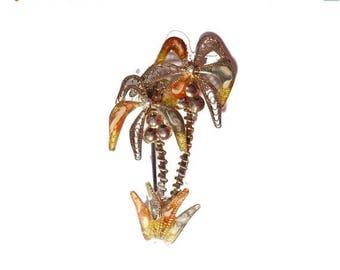 ON SALE Vintage Enamel Sterling Silver Filigree Palm Tree Brooch #2397
