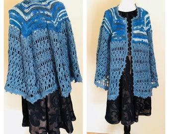Denim Blue Poncho/Cape, Crochet, Hand Made in the U S A, Item No. Lu001