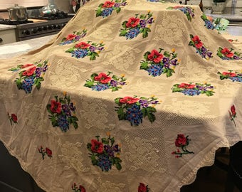 Vintage tablecloth,  hand stitched, rectangular tablecloth, antique linen tablecloth