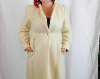 Birthday Sale Vintage 80's Long Wool Mohair Jacket By Nipon Coature, Size Small or Medium, Princess Coat