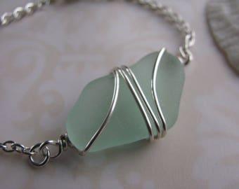 Real Sea Glass Bracelet Green Beach Glass Bracelet Beach Wedding Jewelry Wire Wrapped Sea Glass