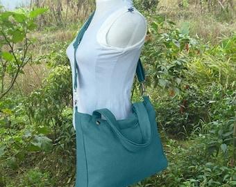 On Sale 20% off Teal Green canvas crossbody bag, messenger bag, sholder bag, tote bag, school bag