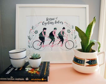 League of Cycling Ladies Screenprint Poster
