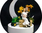 Sunflower John Deere Tractor Country Western Wedding Theme, Cake Topper OR Glasses Knife Server set or Guest Book You Pick Funny Farmer Barn