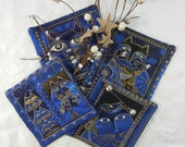 Quilted Cotton Fabric Coasters (4) Set #1  - Laurel Burch Cats in Blue with Metallic Gold