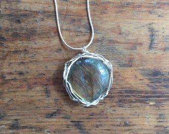 Large Labradorite Necklace Gem Stone one off!
