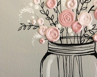 Mason Jar Flower Art, Pink and Gray Textured Acrylic, Original Painting on Canvas, Ready to ship