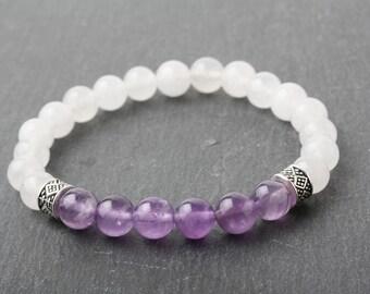 Amethyst bracelet, chakra bracelet, Crown chakra jewelry, Purple stone bracelet, meditation bracelet, yoga bracelet, healing bracelet