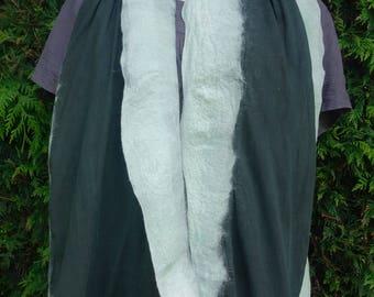 nuno felted scarf black &  aqua scarf summer scarf cotton and wool scarf handmade wet felted scarf accessory long nuno scarf OOAK scarf