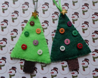 Set of Two Felt Christmas Tree Ornament by Pepperland