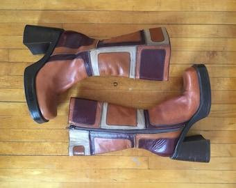 vintage 90's steve madden patchwork leather chunky heel platform boots - size 9