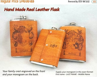 ON SALE Qty of Four Leather Flasks with Family Crest Engraved in Leather - 8 ounce - FREE Monogramming