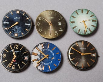Set of 6 Vintage watch movement, watch parts, watch faces.