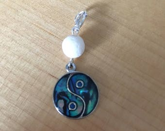 Only One! Silver metal mother of pearl Yin Yang pendant or charm