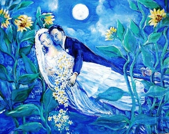 Lovers and Sunflowers -  Fine art print- various sizes