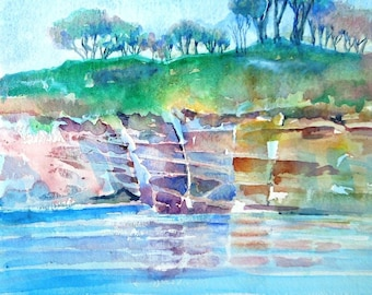 "Landscape Ireland ""Rosy Sandstone cliffs in Dunmore East"" Watercolour, Original  Art, Co.Waterford, Irish art"