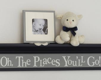 "Oh, The Places You'll Go! - Sign on Floating 30"" Navy Shelf 