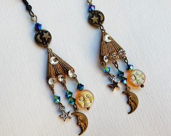 Celestial Earrings, Moon Stars Earrings, Moon Earrings Jewelry, Celestial Jewelry, Gypsy Earrings,  Boho Earrings,