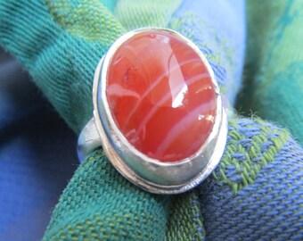 Red Orange Striped Sardonyx in Finger Shaped Argentium Ring Size 9
