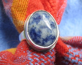 Blue Willow Stone in Classic Argentium Ring Size 7 & a Half
