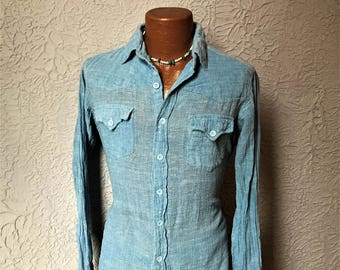 70's  Vintage Men's Gauze Chambray Hippie Western Shirt medium slim