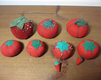 7 Red Vintage Tomato Pin Cushions, Sewing, Quilting Notions