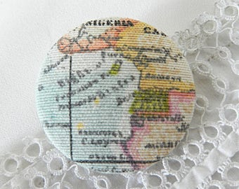 Fabric button to Scriptures way map geography, 40 mm in diameter