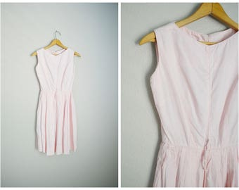 vintage 60s pastel pink sleeveless summer garden party day house petite  party dress -- womens 33-22-free